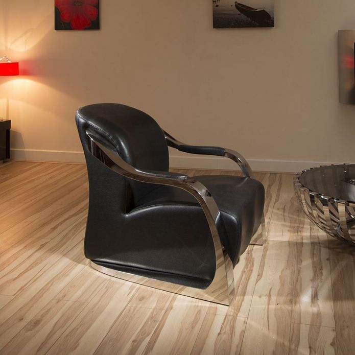 Amazing Modern Black Leather/Stainless Armchair/Armchairs Chair/Chairs