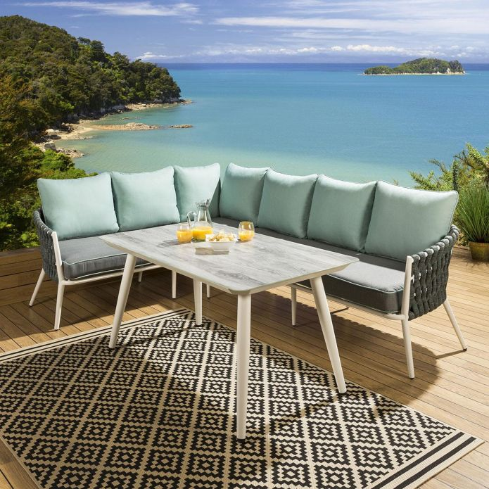Glass Top Outdoor Corner Dining Set White Aluminium Grey / Green