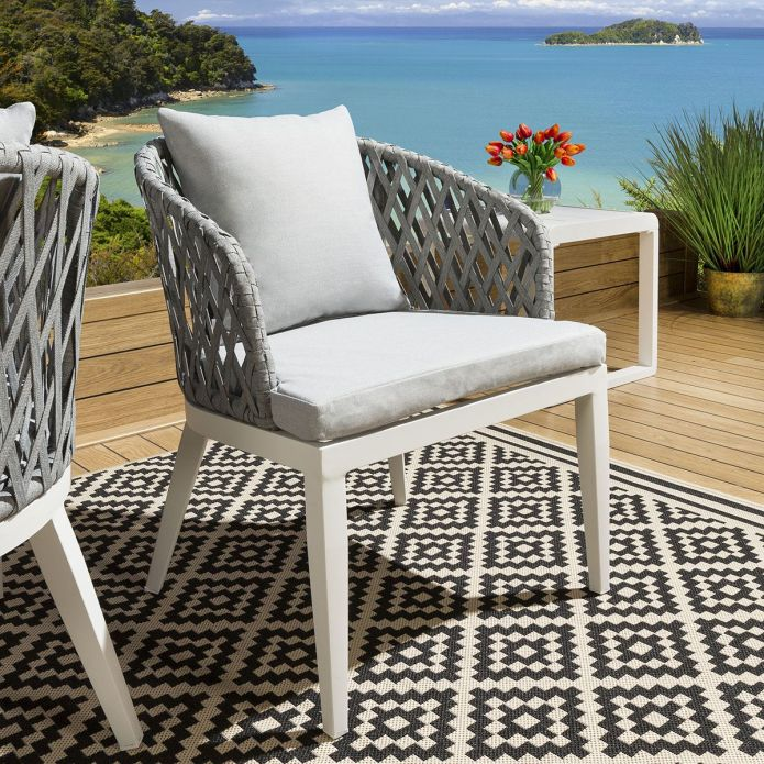 Set of 2 Luxury Garden Rope Back Dining Chairs White Alum Silver Cushions