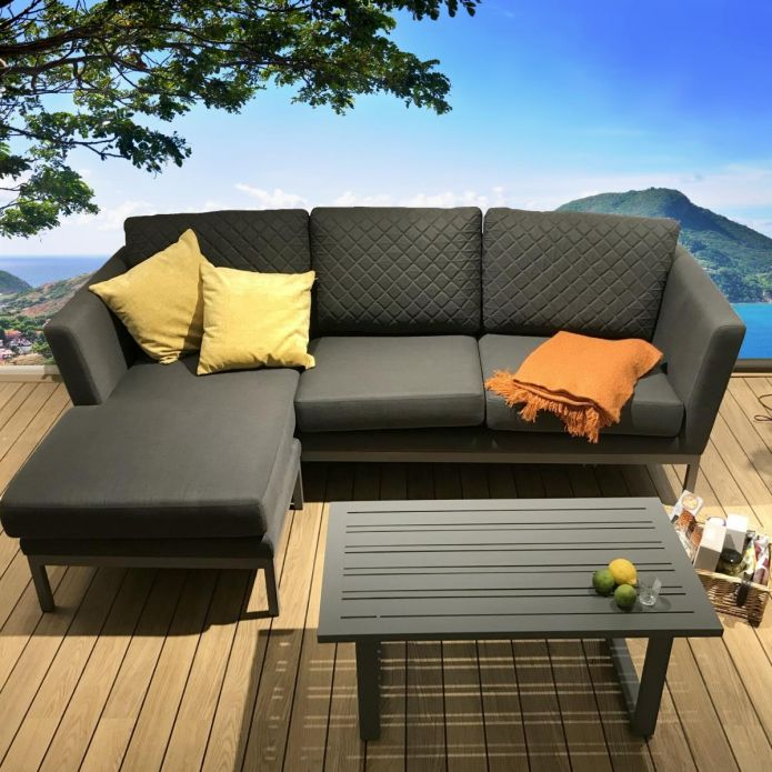 Modern Outdoor Garden 3 Seater Sofa + Chaise and Table Grey Fabric.