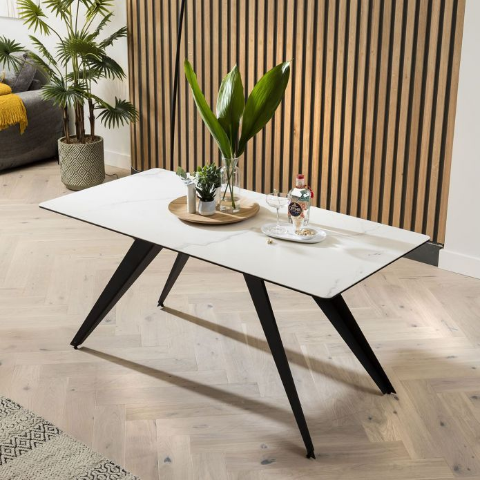 Ceramic Corner Dining Table Grey Bench And Chair Set White Marble Effect Left