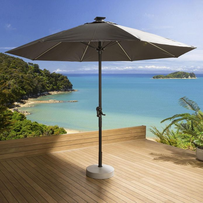 Luxury Garden Grey Round Parasol Umbrella 3m With Solar Light