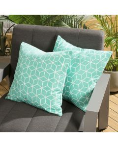 Pair of Luxury 450mm Outdoor Scatter Cushion Mint Geometric