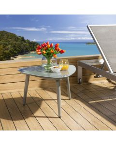 Luxury Garden Side Table Aluminium With Glass Top Grey For Outdoor