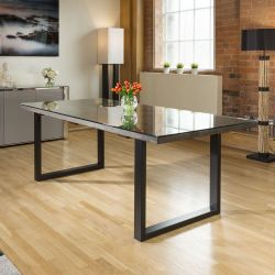 NEPTUNE Solid oak rectangular dining table with glass top