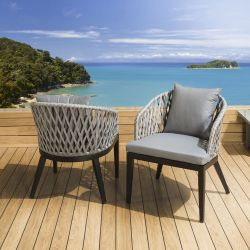 Pair of Luxury Indoor / Outdoor Dining Chairs Black / Grey Fabric/Rope