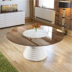 Large Round Lacquered Walnut White Gloss Dining Table Glass Insert 1.8