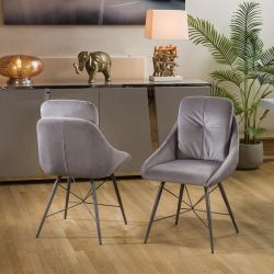 Modern Pair Of Dining Chairs Grey Fabric, Grey Powder Coated Legs