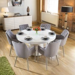 Large White Circular 1.4 Dining Table +6 Ice Grey Carver Chairs