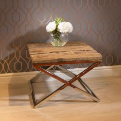 Stunning Square End Side Lamp Table Solid Reclaimed Hardwood 60x60cm
