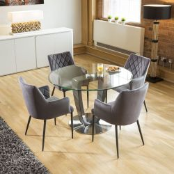 Round Glass Top Dining Set Grey Table Base 4 Grey Carver Chairs