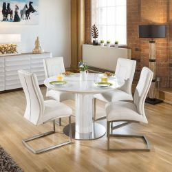 Modern Extending Dining Set Oval / Round Glass Table 4 Chairs - White