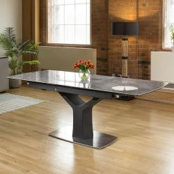 Huge Modern Grey Ceramic Dining Table Rectangle Extends 1.6 - 2.1m