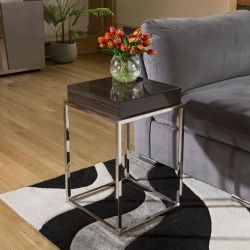 Stainless Steel Framed 410mm Wide End Table Smoked Oak Wood Top