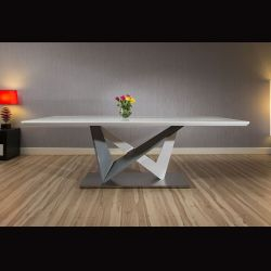 Large Rectangular Modern Dining Dining Table White Glass 220x110cm top