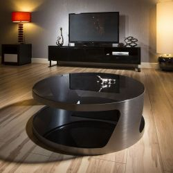 Modern Designer Large Round Coffee Table Glass Top Stainless Steel 106