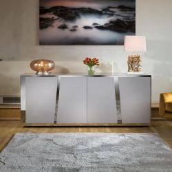 Luxury Grey 4 Door Sideboard Glass Top Stainless Frame 2mt No Assy V
