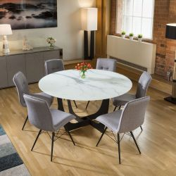 Round White Glass Marble Effect Dining Table + 6 x Grey Fabric Chairs