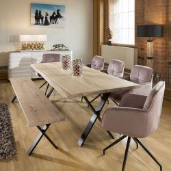 2.4x1 Rectangle Table and bench White Solid Oak 5 x Pink Swivel Chairs