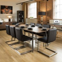 Extending Dining Set Walnut / Grey Table 8 Black Cantilever Chairs