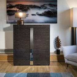 Sideboard / Tall Cabinet / Cupboard High Gloss Black Grain Lacquered