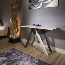 Modern Luxury Console Table White gloss top and multicoloured legs.