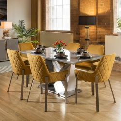 Stunning 6 Seater Dining Set Grey / Glass Table With 6 Mustard Chairs