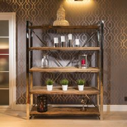 Luxury Bookcase / Display Cabinet Solid Reclaimed Hardwood W183xH140cm