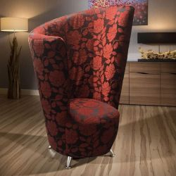 Modern ExDisplay 1400mm High Curved Red Floral Fabric Armchair/Tub Chair