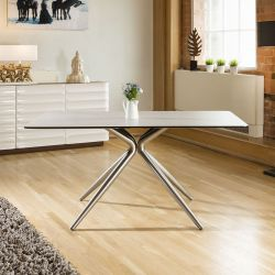 Dining Table Stone Grey / White Top Rectangle Melamine 1600 x 900mm