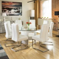 Round 1.8 Glass Top White Oak Dining Table 8 White Extra Padded Chairs