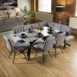 Grey Glass Dining Table Set + Fabric Corner Bench & 3 Chairs