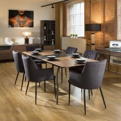 Extending Dining Set Walnut / Grey Table 6 Charcoal Carver Chairs