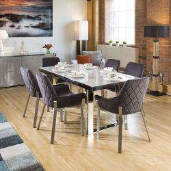 Quatropi Sophie Modern Grey Glass Dining Table +6 x Grey Carver Chairs