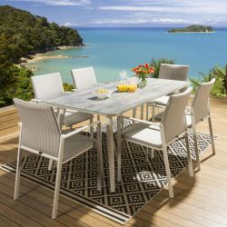 Glass Top Outdoor Dining Table + 6 Stackable Chairs