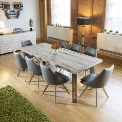 Huge Reclaimed Oak Dining Table 70-100 yrs old + 8 Grey Modern Chairs
