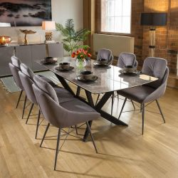 Extending Grey Ceramic Dining Table + 6 Grey Fabric Chairs 1965