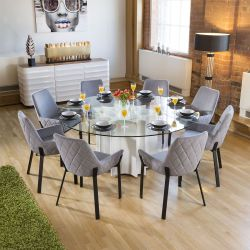 Round Glass Top White Gloss Dining Table + 8 Light Grey Carver Chair