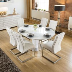 Modern Extending Dining Set Oval / Round Glass Table 6 Chairs - White