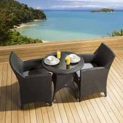 Rattan Garden Dining Set Round Table 2 Chairs Black Grey Cushion New