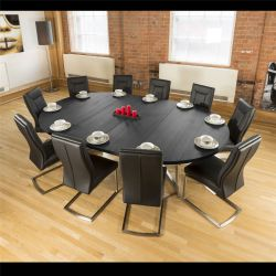 Large Oval 1.8 x 2.8m Black Oak Dining Table + 10 Vintage Black Chairs