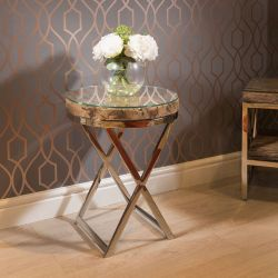 Stunning Round End Side Table Solid Reclaimed Hardwood 45x60 Glass Top