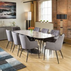 Huge Extending Dining Table Italian Grey Ceramic +8 Grey Carver Chairs