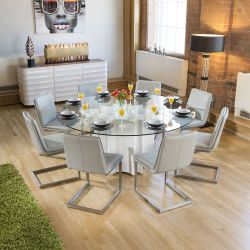 Round Glass Top White Gloss Dining Table + 8 Ice Grey Cantilever Chair