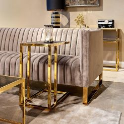 Black Oak Sofa End Table Gold Stainless Steel Frame 550 x 350 x 600 mm