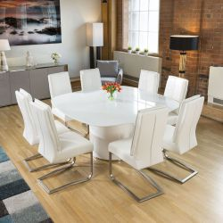 Quatropi Square White Glass Dining Table + 8 Extra Padded White Chairs