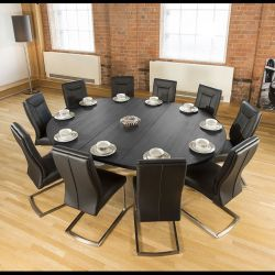Large Oval 1.8 x 2.3m Black Oak Dining Table + 10 Vintage Black Chairs