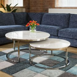 Pair of White Marble Coffee Tables Set Stainless Steel Frame Round