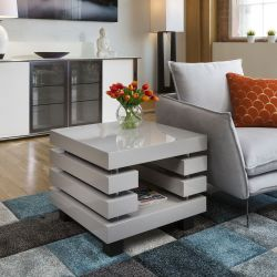 Coffee / End / Side / Lamp Table Square Grey Gloss Modern New 397B