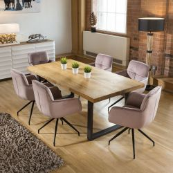 Rectangle Dining Table 2200mm Natural Solid Oak 6x Pink Swivel Chair